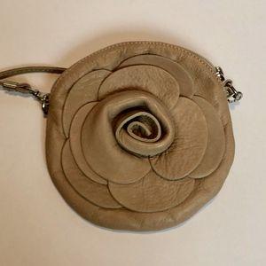 Handbags - Leather Made in Italy Tan Flower Crossbody Purse